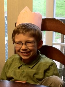 B wearing a crown his sister made him.